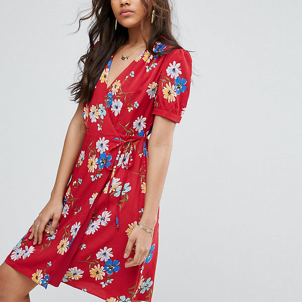 Glamorous Tall All Over Floral Wrap Front Tea Dress - Multi