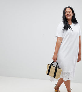 ASOS DESIGN Curve midi t-shirt dress with broderie drop hem - White