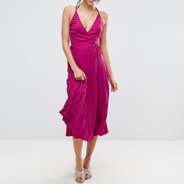 ASOS TALL Wrap Front Pleated Midi Dress - Berry