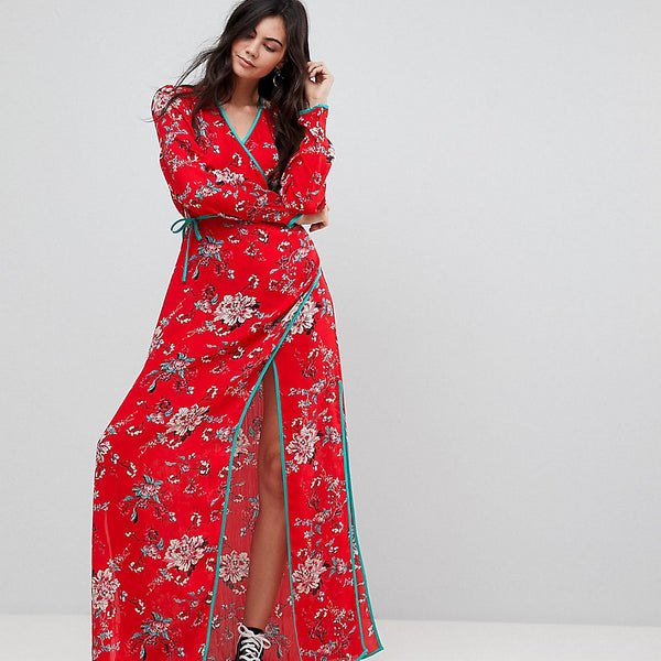 Glamorous Tall Maxi Wrap Dress With Contrast Satin Binding In Vintage Floral - Red