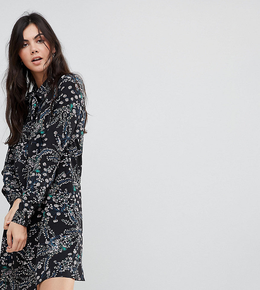 Glamorous Tall Long Sleeve Shirt Dress In Garden Floral - Black multi