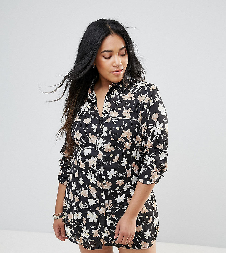 Rage Plus Piped Floral Shirt Dress - Print