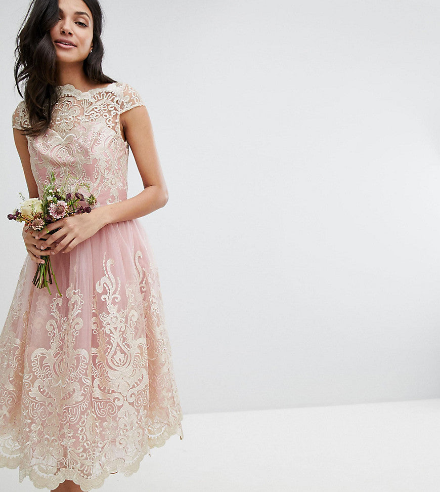 Chi Chi London Tall Premium Lace Midi Prom Dress with Bardot Neck - Vintage rose/gold
