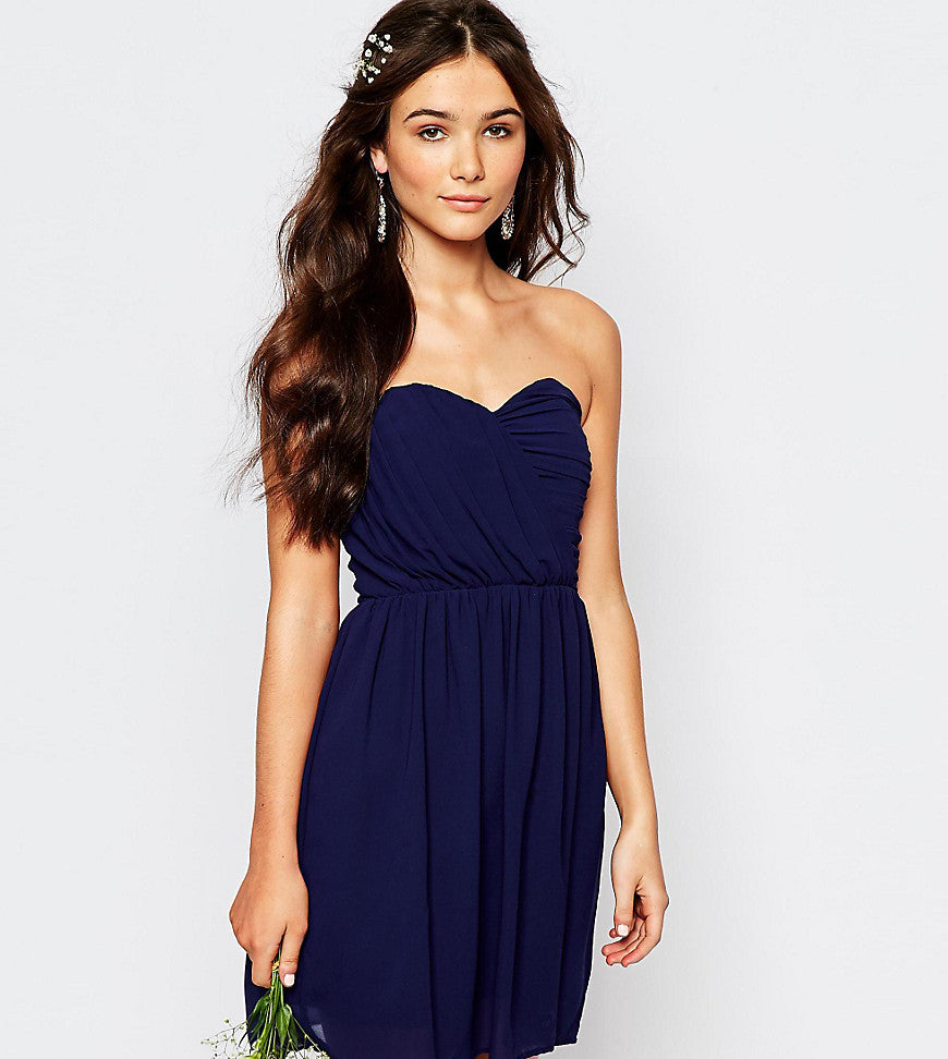 TFNC WEDDING Bandeau Chiffon Mini Dress - Navy