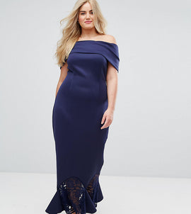 ASOS CURVE Scuba Bardot Lace Pephem Maxi Dress - Navy