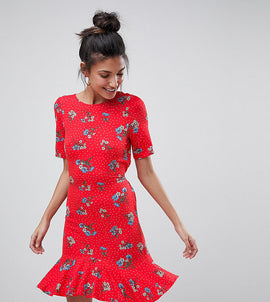 ASOS TALL Tea Dress with V Back and Frill Hem in Red Floral Print - Multi