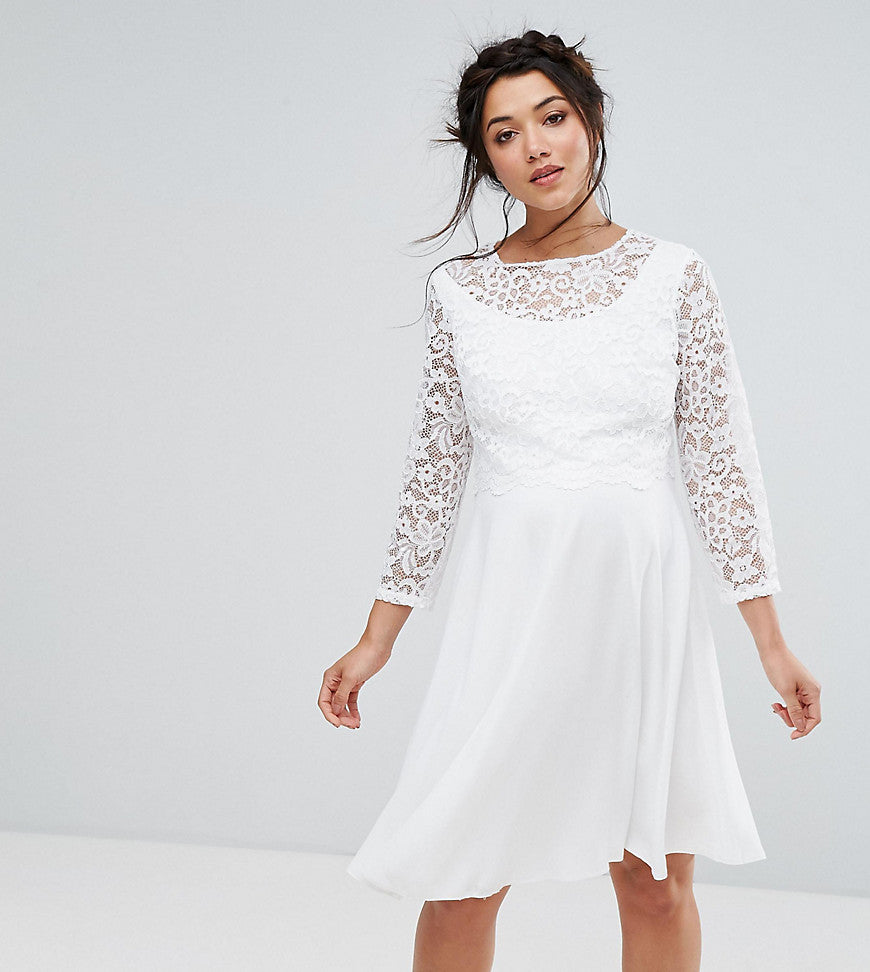 Queen Bee Maternity Lace Overlay Midi Dress - White