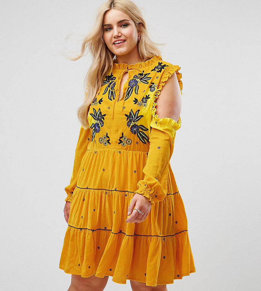 Frock And Frill Plus Cold Shoulder Velvet Smock Dress With Floral Embroidery - Yellow