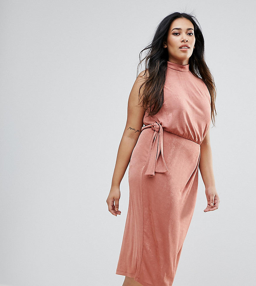 ASOS CURVE High Neck Tie Side Midi Bodycon Dress - Rose