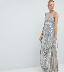 A Star is Born Tall Embellished Maxi Dress with Iridescent Sequins - Silver