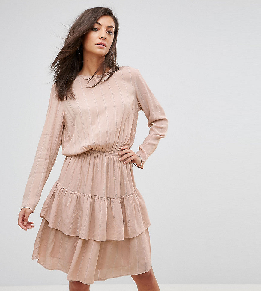 Y.A.S Tall Long Sleeve Ruffle Tiered Dress - Pink