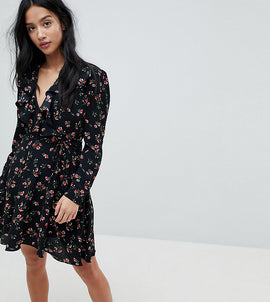 Glamorous Petite Tea Dress With Tie Waist In Floral Spot Print - Ditsy black floral