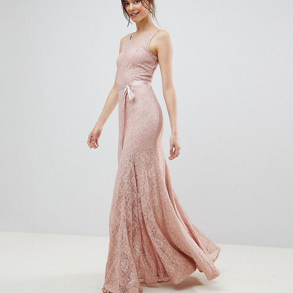 City Goddess Tall Lace Maxi Dress With Satin Belt - Blush pink