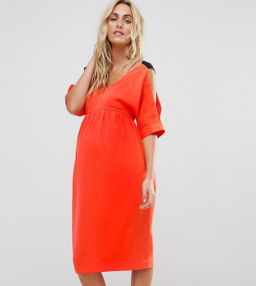 ASOS Maternity Cold Shoulder Dress with Cross Back Detail - Red