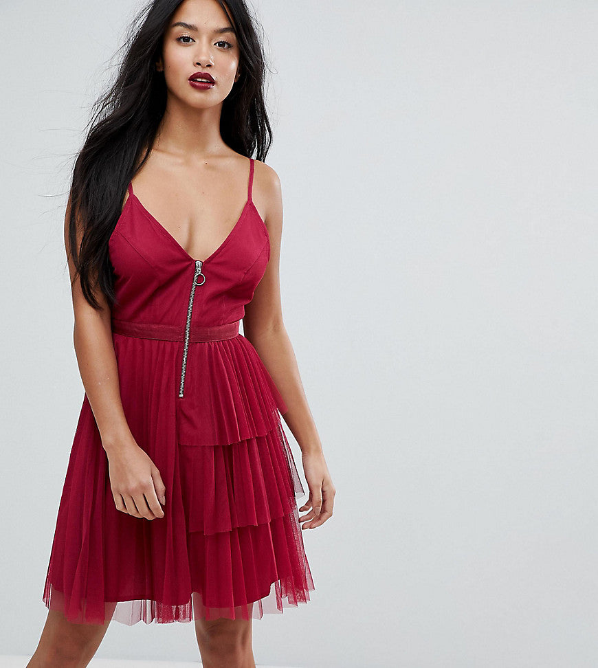 ASOS PETITE Tiered Mini Cami Dress with Zip Front - Red