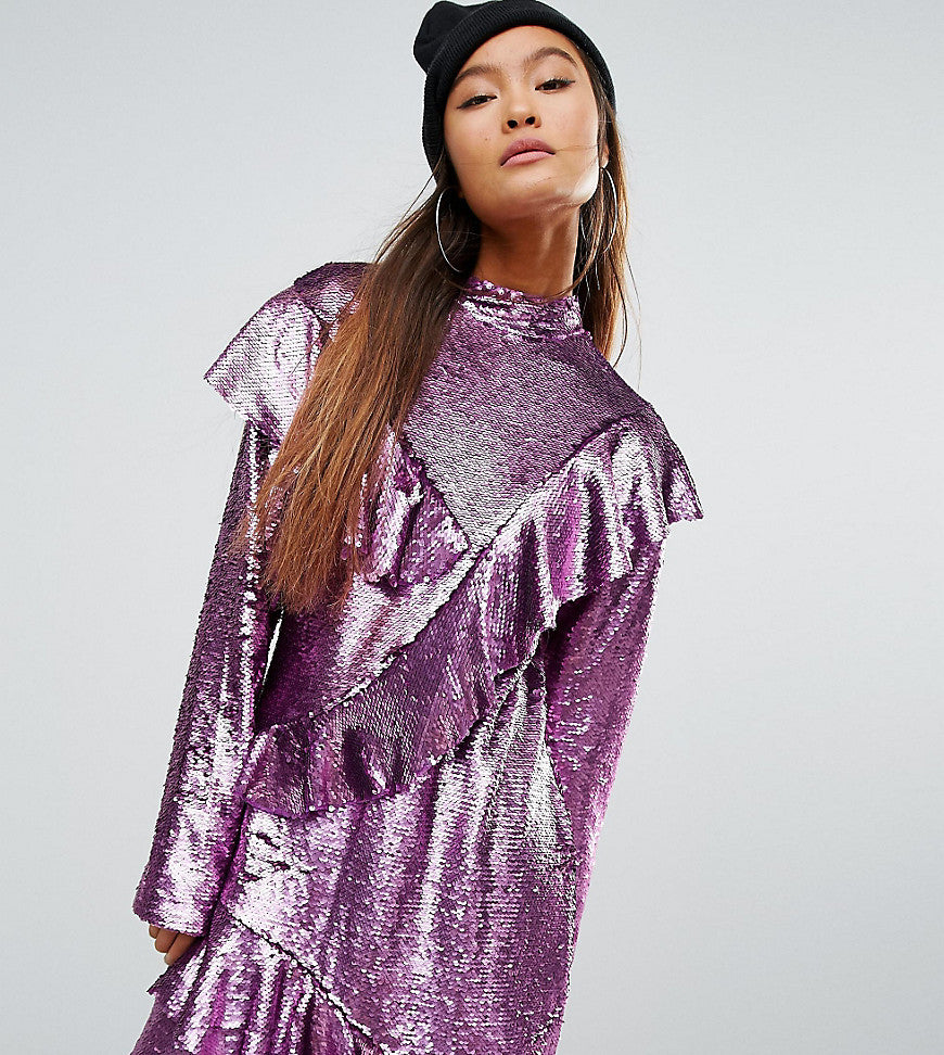 Mad But Magic Sequin Dress With Frills - Pink