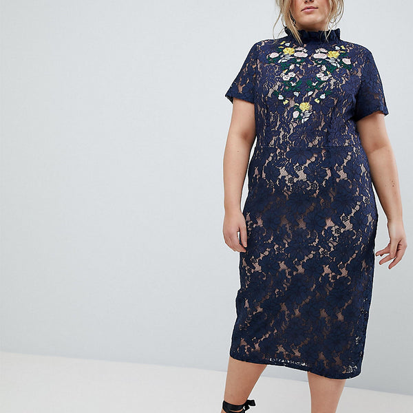 Lovedrobe Midi Pencil Dress With Embroidery - Navy