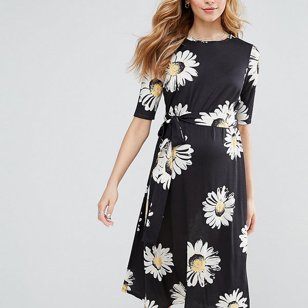 ASOS Maternity PETITE Midi Dress in Daisy Print - Black base