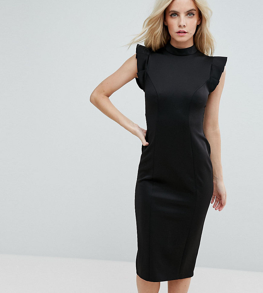 ASOS PETITE Midi High Neck Pencil Dress With Cut Out Back And Shoulder Detail - Black