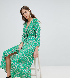 ASOS TALL Pleated Maxi Dress with Side Buttons in Floral - Multi