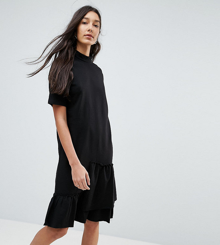 Noisy May Tall Asymmetric Sweat Dress With Ruffle Trim - Black
