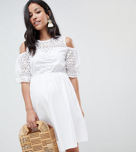 ASOS DESIGN Maternity cold shoulder cotton skater dress with broderie puff sleeves - White