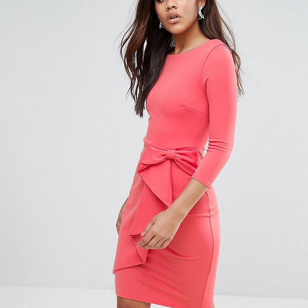 City Goddess Tall Pencil Dress With Waterfall Detail - Coral