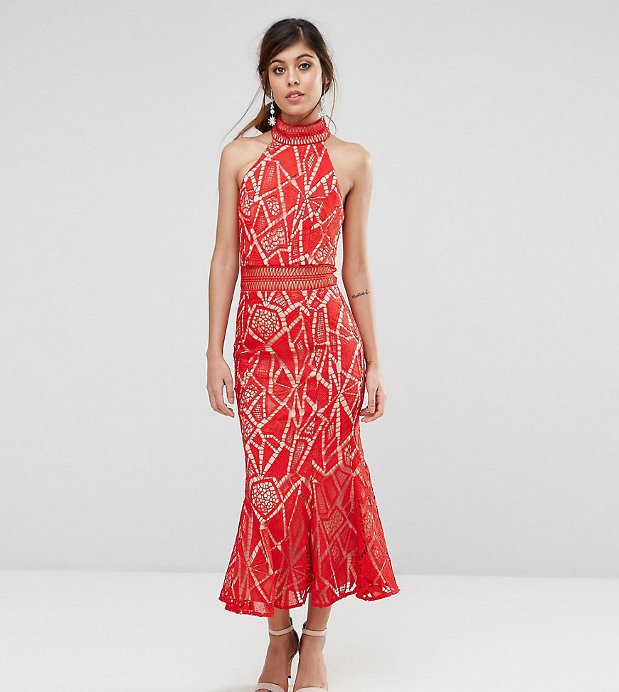 Jarlo High Neck Midi Dress In Lace - Red/nude