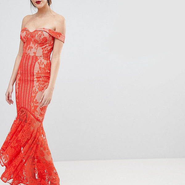 Jarlo Tall All Over Lace Off Shoulder Fishtail Maxi Dress - Tomato orange