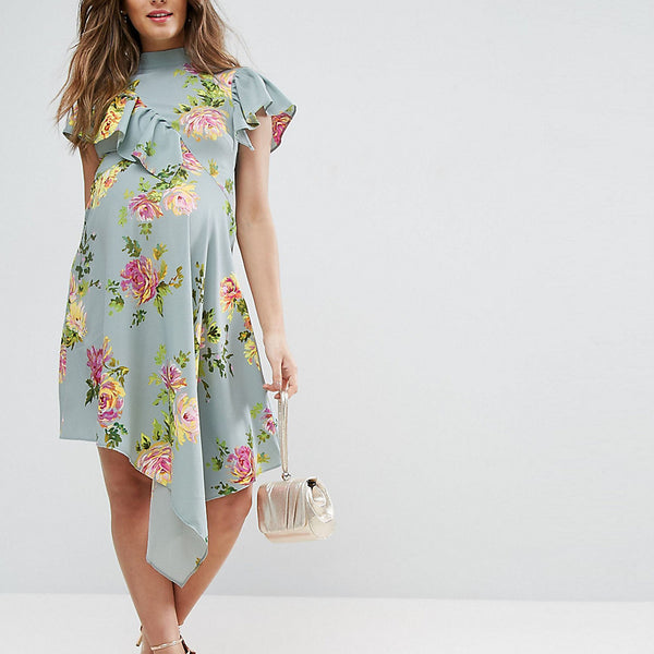ASOS Maternity Asymmetric Tea Dress in Floral Print - Blue base floral