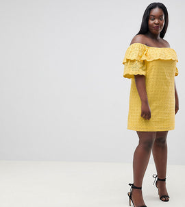 Fashion Union Plus Off Shoulder Dress With Ruffle In Broderie - Yellow