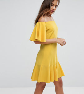 John Zack Tall Off Shoulder Mini Dress With Fluted Hem Detail - Yellow
