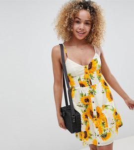 Sisters Of The Tribe Petite Mini Cami Skater Dress In Sunflower Print - Lemon floral