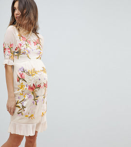 Hope & Ivy Maternity Premium All Over Floral Embroidered Mini Dress - Nude multi