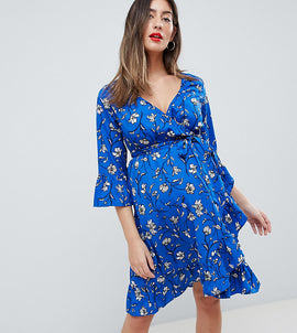Mamalicious Floral Wrap Dress With Ruffles - Multi