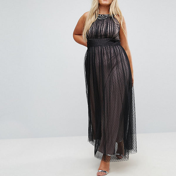 Little Mistress Plus Embellished Top Dotty Mesh Maxi Dress - Black
