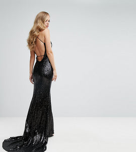 Bariano Sequin Fishtail Gown With Exposed Back - Black