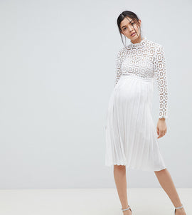 Little Mistress Maternity 3/4 Sleeve Lace Top Pleated Midi Dress - White