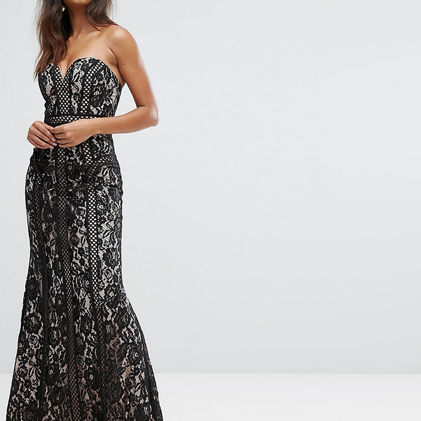 Bariano Sweetheart Maxi Dress In Panelled Lace - Black/nude