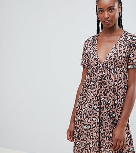 ASOS DESIGN Tall ultimate cotton smock dress in leopard print - Multi