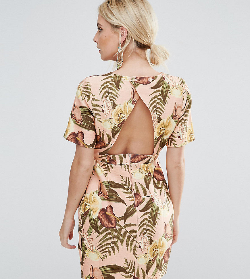 ASOS PETITE Mini Smart Woven Dress with V Back in Tropical Print - Multi