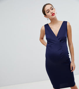 Flounce London Maternity Wrap Front Midi Dress - Navy