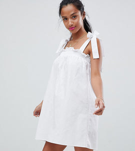 Fashion Union Petite Sun Dress With Tie Shoulders - White