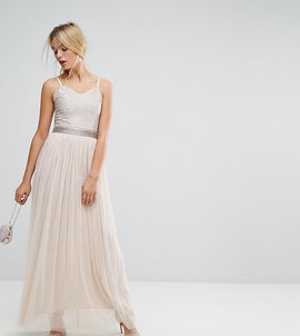 Amelia Rose Maxi Cami Strap Dress with Tulle Skirt and Embellished Upper - Mink