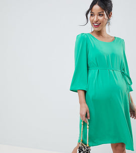 Mamalicious Shift Dress With Cross Back Detail - Green