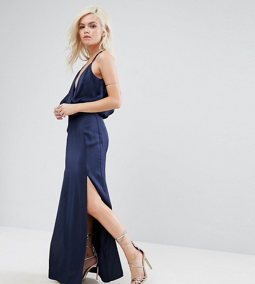 ASOS PETITE Drape Front Strappy Back Maxi Dress - Navy