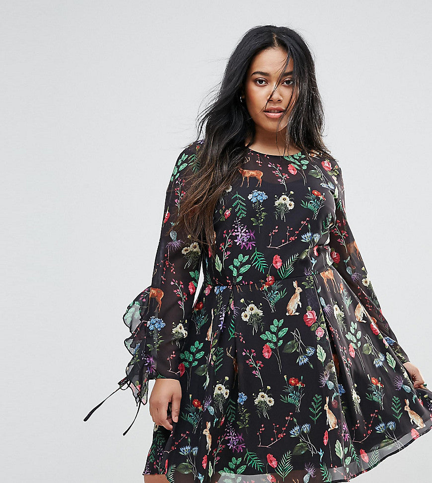Unique 21 Hero Plus Tea Dress With Tie Ruffle Sleeves In Garden Floral Print - Black print