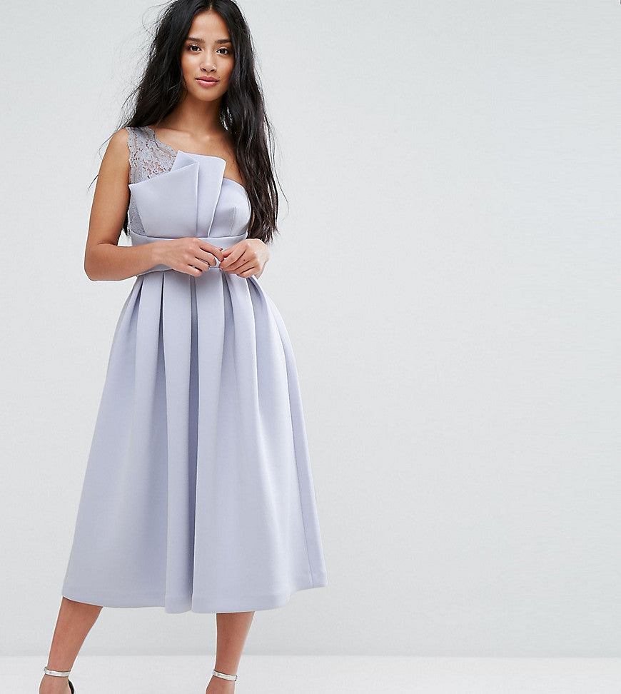ASOS PETITE PREMIUM One Shoulder Lace Scuba Midi Prom Dress - Blue