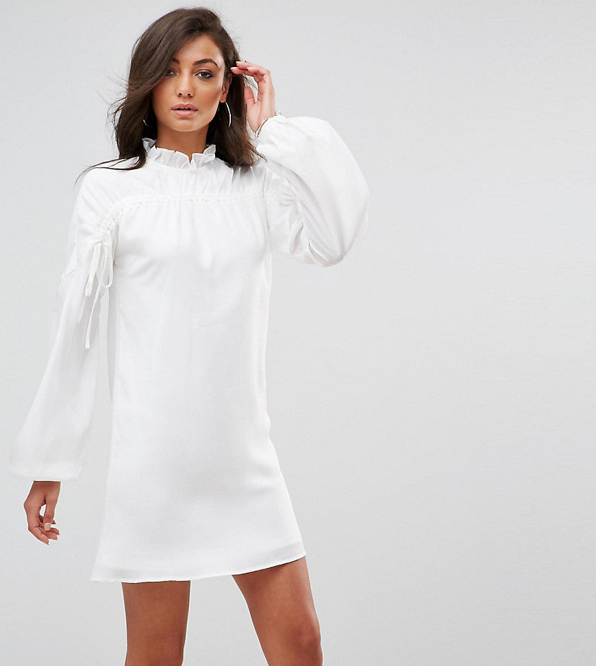 Fashion Union Tall Long Sleeve Smock Dress With Ribbon Tie Gathers - White
