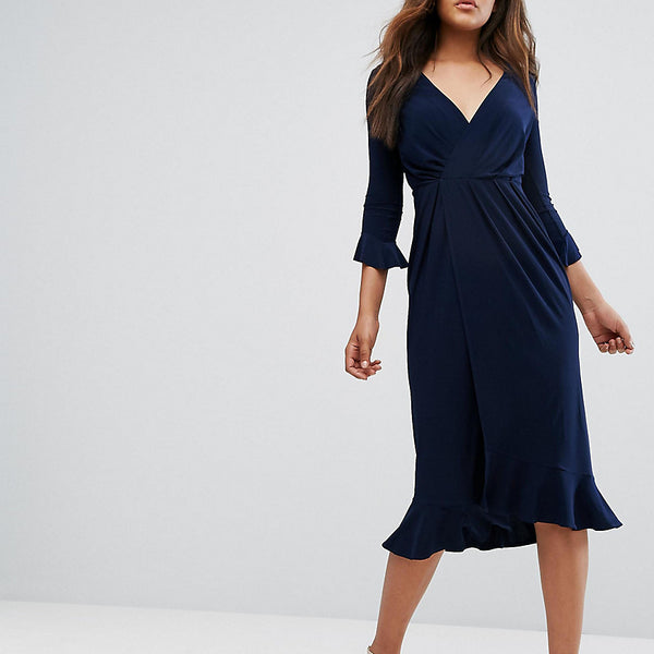 ASOS TALL Wrap Front Midi Dress With Frill Detail - Navy